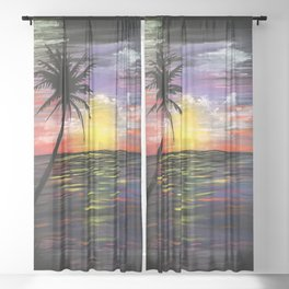Sunset Sea Sheer Curtain