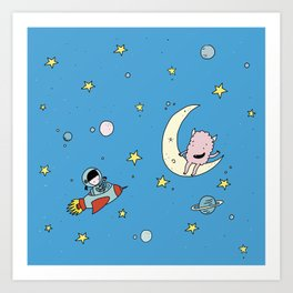 Martina & Anitram in the space Art Print