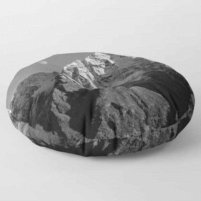 Moon Over Pioneer Peak B&W Floor Pillow