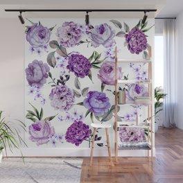 Elegant Girly Violet Lilac Purple Flowers Wall Mural