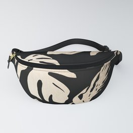 Simply Palm Leaves in White Gold Sands on Midnight Black Fanny Pack
