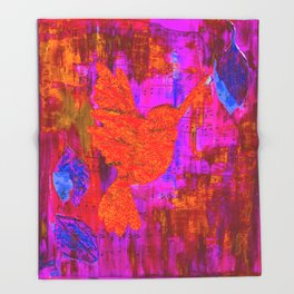 Humming Bird - Bright Red and Purple Throw Blanket