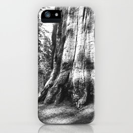 A log cabin dwarfed by a Big Tree in Mariposa Grove in Yosemite National Park, ca.1920 iPhone Case
