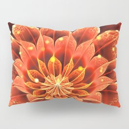 Red Dahlia Fractal Flower with Beautiful Bokeh (Vivid Crimson) Pillow Sham