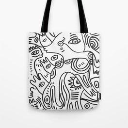 Graff Black and White Cool Non Sense Monsters  Tote Bag
