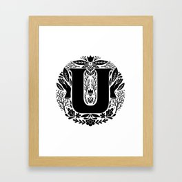 Letter U monogram wildwood Framed Art Print