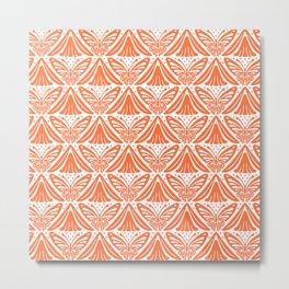 Butterfly and Flower Pattern Orange Metal Print