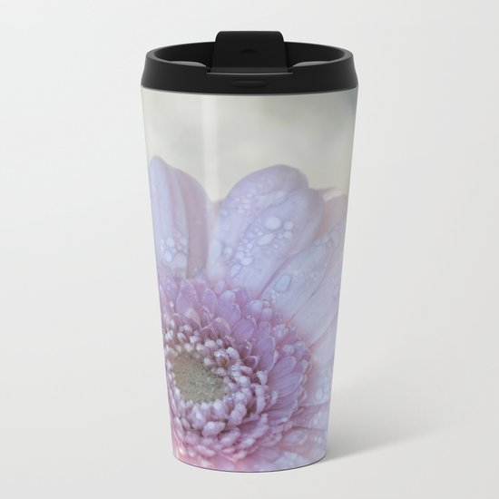 Pink Daisy with Waterdroplets in Backlight- Flower- Flowers- Floral Metal Travel Mug