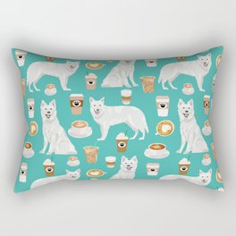 White Shepherd dog breed White German Shepherd coffee coffees pet friendly turquoise Rectangular Pillow