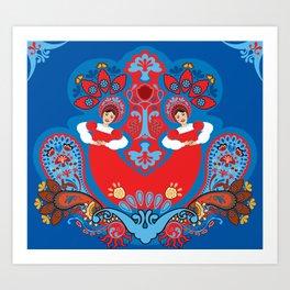 Russian ornament. Dancing girls Art Print