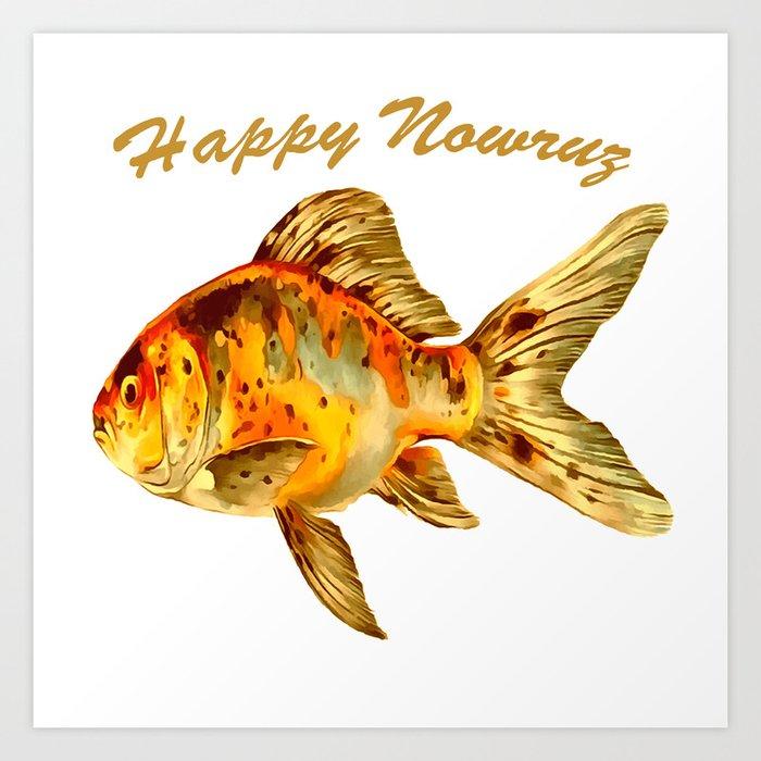 Elegant Happy Nowruz Goldfish Persian New Year Kunstdrucke
