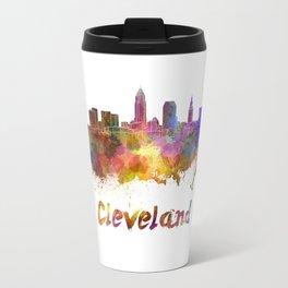 Cleveland skyline in watercolor Travel Mug