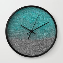Turquoise and Silver Foil Wall Clock