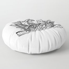 Sea ship from Real Sailor-Songs Collected And Edited By J Ashton Two Hundred Illustrations Floor Pillow