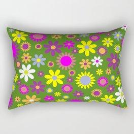 Multicolored Flower Garden Pattern Rectangular Pillow
