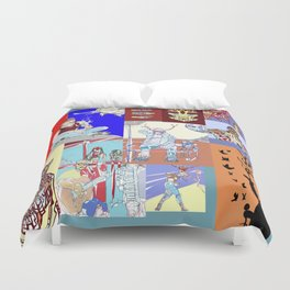 Waiting At The Aztlan Bus Stop Somewhere In The East Los Universe Duvet Cover