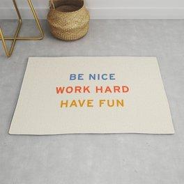Be Nice, Work Hard, Have Fun   Retro Vintage Bauhaus Typography Rug