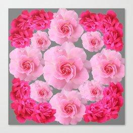 PINK ROSE FLOWERS 0N GREY Canvas Print