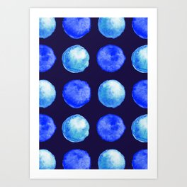 Winter Blue Watercolor Large Dots Pattern Art Print