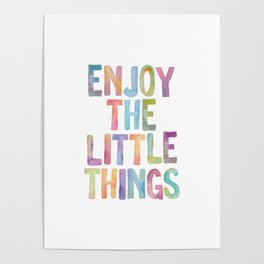 Enjoy the Little Things Watercolor Rainbow Design Inspirational Quote bedroom Wall Art Home Decor Poster