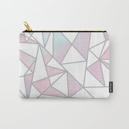 Modern white pink teal watercolor geometrical shapes Carry-All Pouch