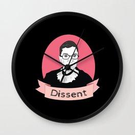 Ruth Bader Ginsburg portrait Dissent Wall Clock