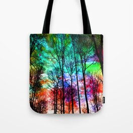 colorful abstract forest Tote Bag