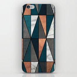 Copper, Marble and Concrete Triangles with Blue iPhone Skin