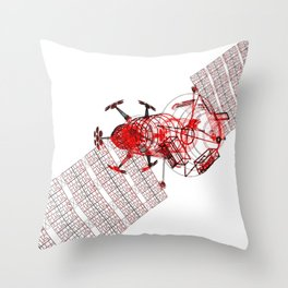 Explorer Schematic Red on White Throw Pillow