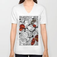 shells V-neck T-shirts featuring Shells by EmilyGrantDesign