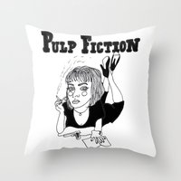pulp fiction Throw Pillows featuring Pulp Fiction by ☿ cactei ☿
