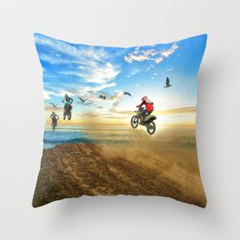 Motocross High Flying Jump with the Birds Throw Pillow