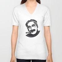marx V-neck T-shirts featuring Groucho Marx by Alejandro de Antonio Fernández