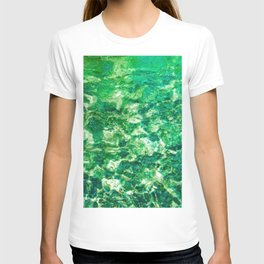 psychedelic painting texture abstract in green T-shirt