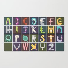 Horizontal Animal Alphabet (Complete Poster) Canvas Print