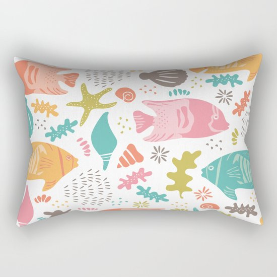 Retro Fish Rectangular Pillow