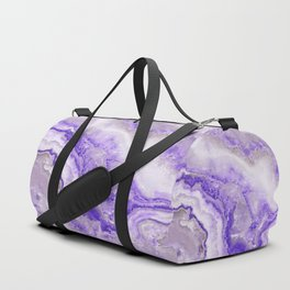 Ultra Violet and Gray Marble Agate Quartz Duffle Bag