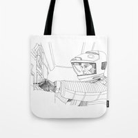 2001 a space odyssey Tote Bags featuring 2001 A Space Odyssey by Ah Shun
