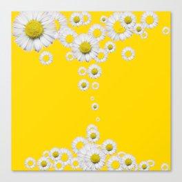 WHITE DAISIES WINDFALL YELLOW ART Canvas Print