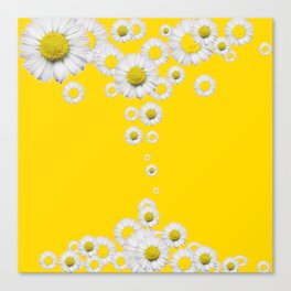 WHITE DAISIES WINDFALL YELLOW ART Canvas Print