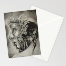 masquerade mask girl Stationery Cards