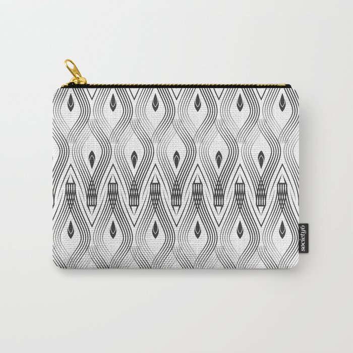 Art Deco 56 . black and gray spiral . Carry-All Pouch