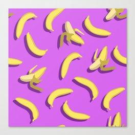 banana pattern on purple background. Canvas Print