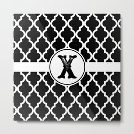 Black Monogram: Letter X Metal Print