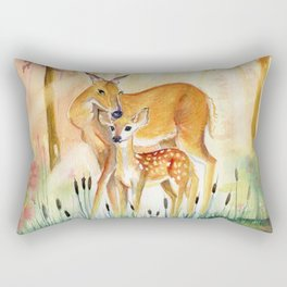 Mom and Little Deer Rectangular Pillow