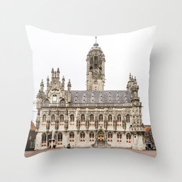 Gothic city hall of Middelburg, the Netherlands, travel photography Throw Pillow