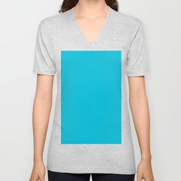 Turquoise color Unisex V-Neck