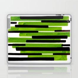 Lime Green Primitive Stripes Mid Century Modern Minimalist Watercolor Gouache Painting Colorful Stri Laptop & iPad Skin