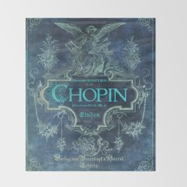 Frederick Chopin Blue Throw Blanket