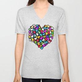 Rainbow LOVE Hearts Unisex V-Neck
